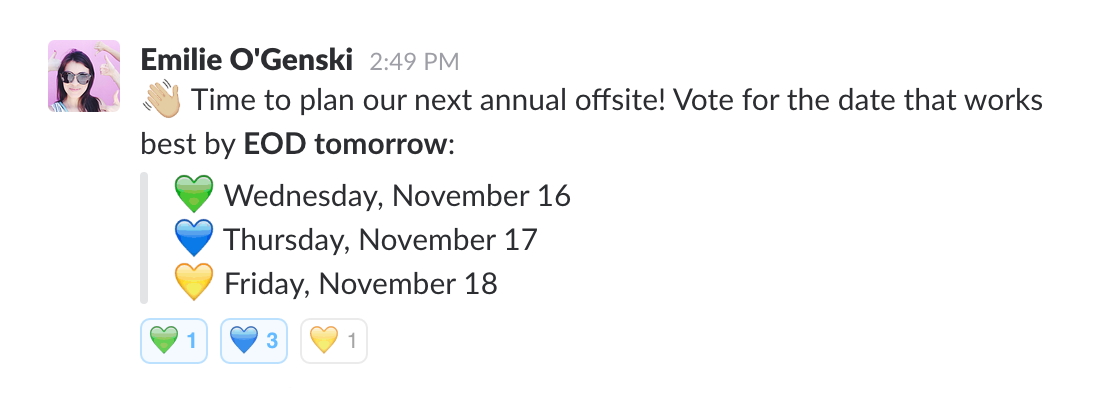Taking an emoji poll on Slack